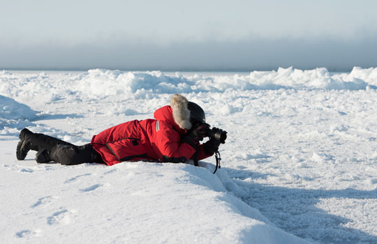 Photograph of a researcher photographing frost flowers on sea ice
