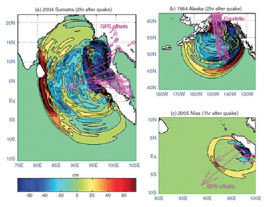 "When Earth moves water  Traditionally, scientists have looked at the earthquake itself—using location, magnitude, and depth—to estimate the size and direction of the tsunami. As an oceanographer, Song knew that historic records had proven this method did not always work well. ""The scale of the tsunami can be different from the earthquake scale,"" he said. ""Sometimes it's the smaller earthquakes that can generate powerful tsunamis.""  The key to understanding tsunami risk was not in the earthquake itself, but in the energy it releases into the ocean. On land, that energy dissipates once the shaking has stopped. But under water, the energy transfers through the ocean, producing waves that ripple across the seas for hundreds or even thousands of miles. Out on the open ocean, these waves may not be noticeable, but once they encounter land, they pile up, creating the devastating walls of water that crash inland.  Scientists suspected that measuring this transfer of energy might help improve tsunami prediction. Song and his colleagues theorized that if they could measure the ground displacement caused by a coastal or undersea earthquake, they could more accurately determine when a tsunami is likely, and where those waves might go. They also thought that GNSS could provide those missing measurements.  As part of the GNSS network, highly accurate Global Positioning System (GPS) receivers located all over the planet record movement in Earth's crust by triangulating signals with a constellation of satellites. Geodetic GNSS stations are much more precise than the GPS in phones and car navigation systems. For example, a consumer GPS device might be accurate to a few meters; geodetic GNSS can be accurate to a few centimeters, and in near-real time.  The hard part often involves collecting and processing that data in a timely manner, sometimes manually. For monitoring natural hazards, Song and his colleagues needed more timely data. So they developed a system to calculate the tsunami energy or scales directly from remotely retrieved real-time GNSS data in the Global Differential Global Positioning System (GDGPS), managed by JPL. GDGPS has more than 100 receivers worldwide, making it one of the largest real-time GPS systems in the world. ""With GDGPS data, we can reliably estimate a tsunami's destructive potential within minutes, well before it reaches coastal areas,"" Song said."
