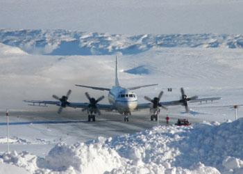 Photograph of a NASA P-3B aircraft in Thule, Greenland