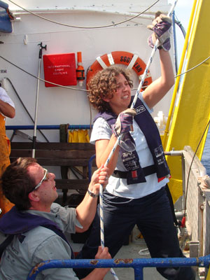 Research team hauling in live salps to sample