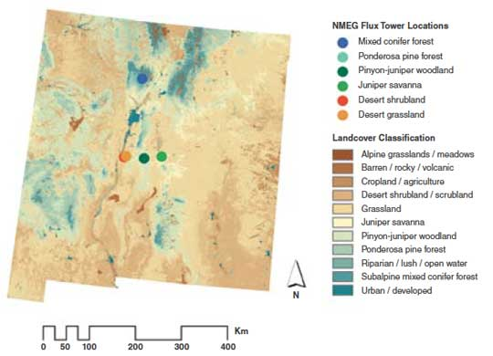 Data map of New Mexico showing the different types of land cover