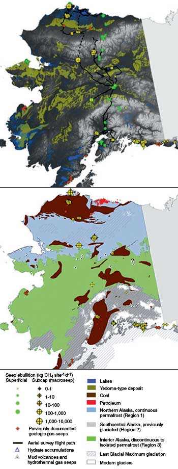 Data maps of Alaska showing methane seeps and geologic features associated with them