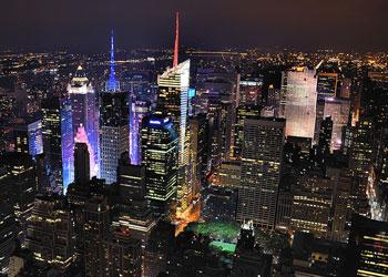 Photograph of New York City at night