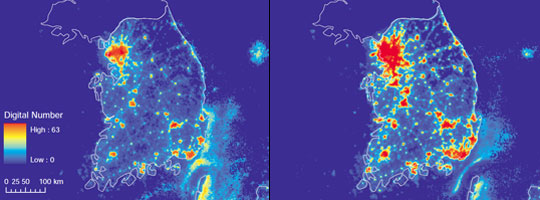 Pair of satellite images showing city lights in South Korea in 1992 and 2008