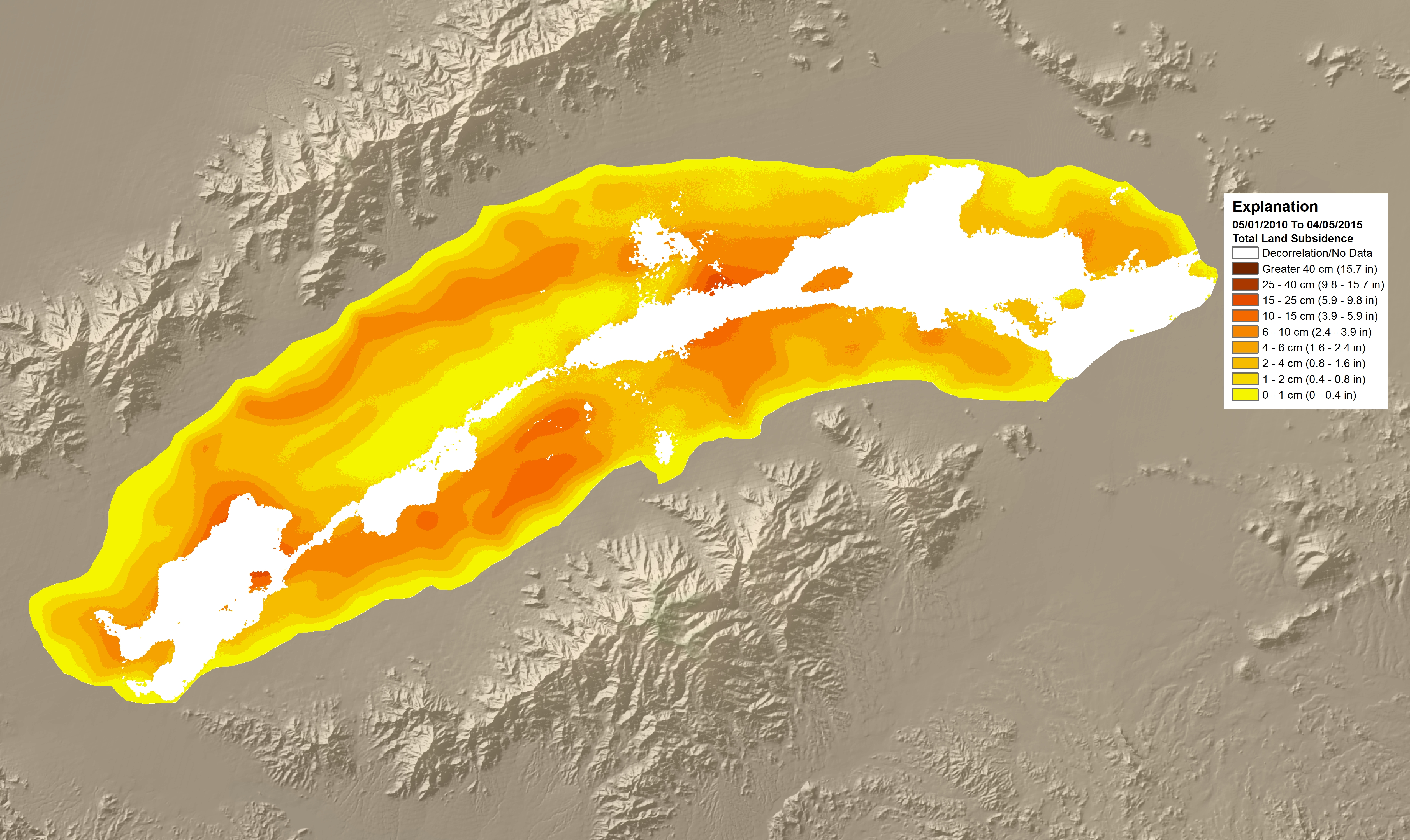 Land subsidence map of the McMullen Valley Groundwater Basin showing subsidence between April 2010 and May 2015. Yellow areas indicate subsidence of 0-0.4 in (0-1 cm); orange areas indicate subsidence of 1.6-3.9 in (4-10 cm); red areas indicate subsidence of 3.9-9.8 in (10-25 cm). Image courtesy of the Arizona Department of Water Resources.