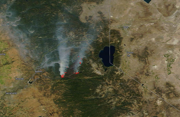 MODIS image of the King Fire on September 23, 24 near Lake Tahoe