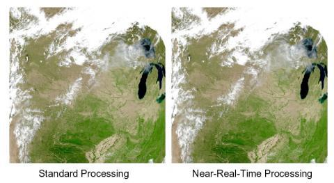 MODIS Standard Processing vs Near Real-Time Processing Land Surface Reflectance
