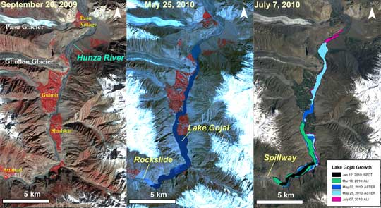 Data image showing how the Hunza River transformed into Lake Gojal