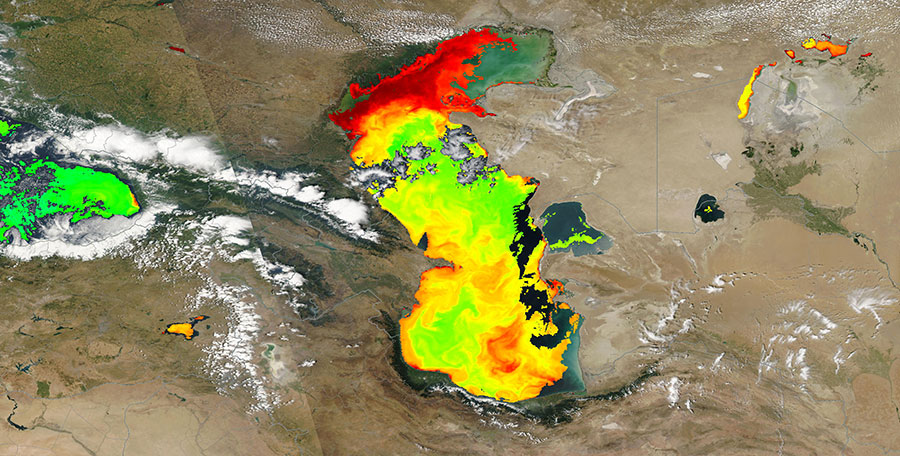 Caspian Sea 26 July 2015 Chlorophyll A concentration