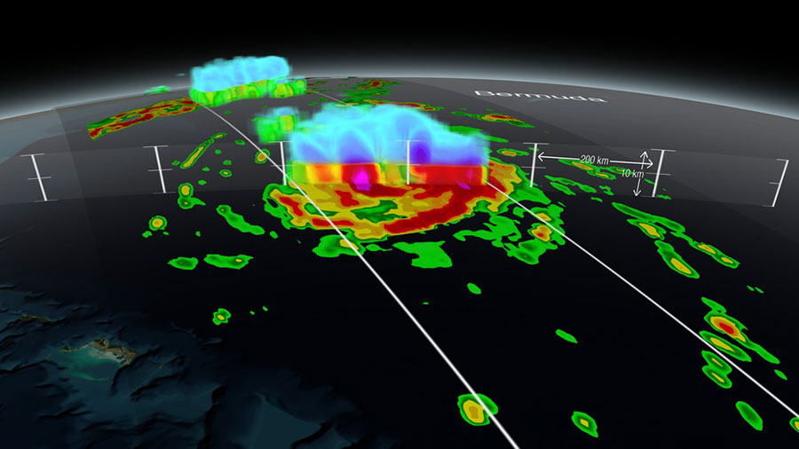 This image of Hurricane Gonzalo approaching Bermuda on October 16, 2014, was created with GPM's Dual-frequency Precipitation Radar and shows a 3-D view of the storm's structure. Image courtesy of NASA SVS.