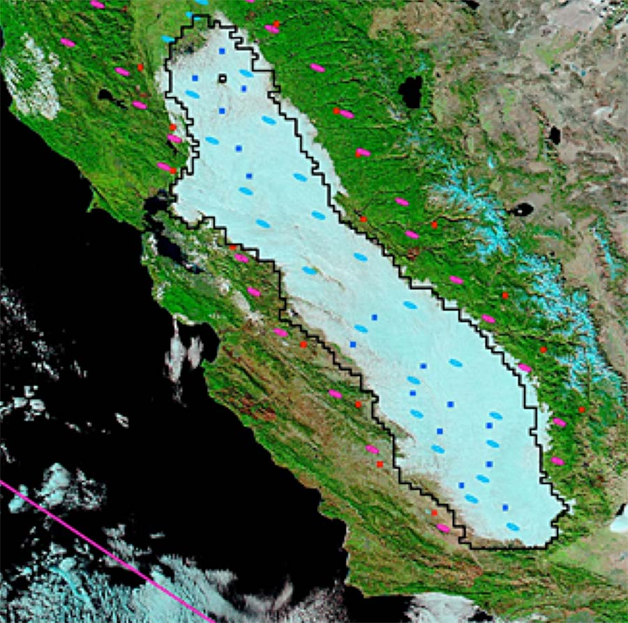 Satellite data image showing tule fog in California's central valley