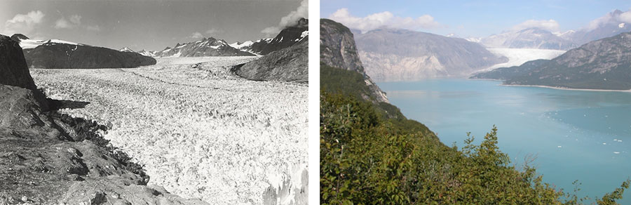 Pair of photographs showing Alaska's Muir Glacier in 1941 and in 2004