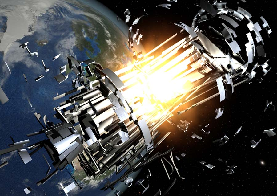 Artist's rendering of a space debris collision