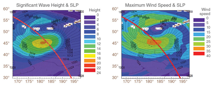 Pair of data images showing wave height and surface wind speed for March 18, 1999