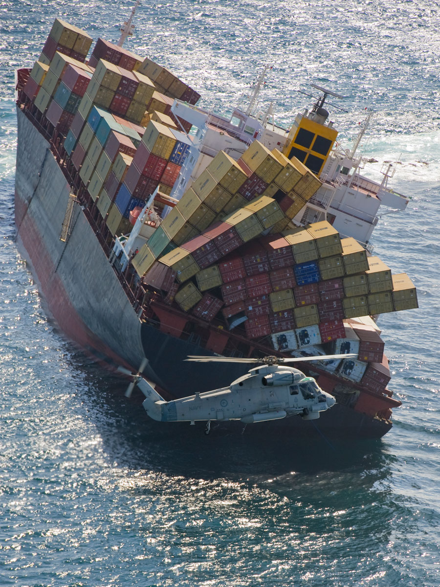 Photograph of cargo ship Rena, which ran aground and spilled its cargo