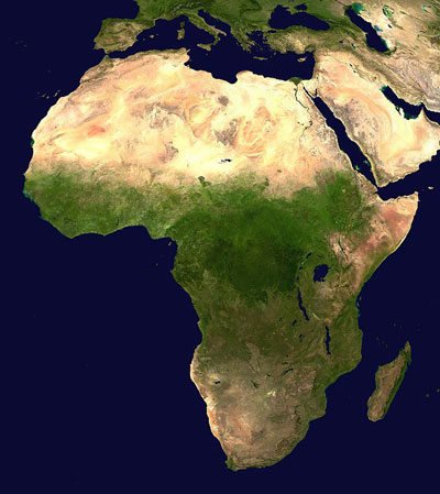 Satellite-derived map showing the Sahara and Arabian Deserts