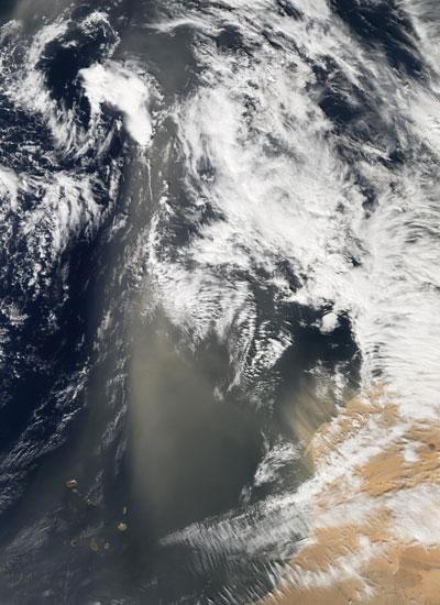 Satellite image showing Sahara dust sweeping across the Atlantic Ocean