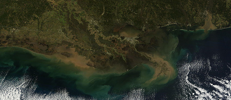 New Orleans Mississippi River Delta 17 Jan 2016 Terra Lg