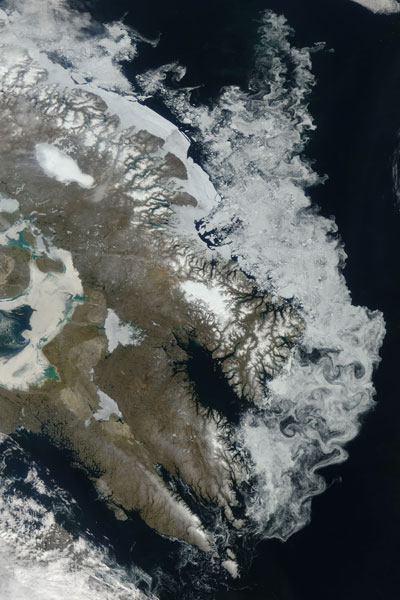 Satellite image of sea ice off the coast of Baffin Island