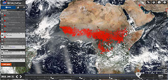 Worldview Global Fire Maps