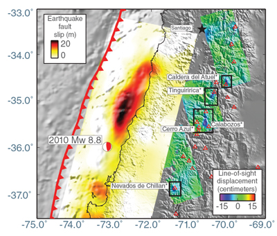 Data image showing a fault slip in southern Chile