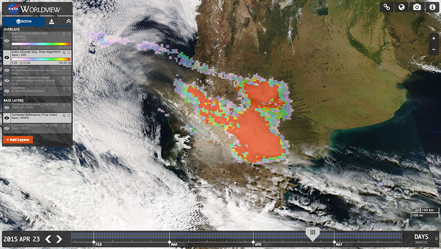 Worldview displaying Volcan Calbuco eruption in April 2015