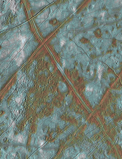 NASA Galileo image of the surface of Europa, one of Jupiter's moons