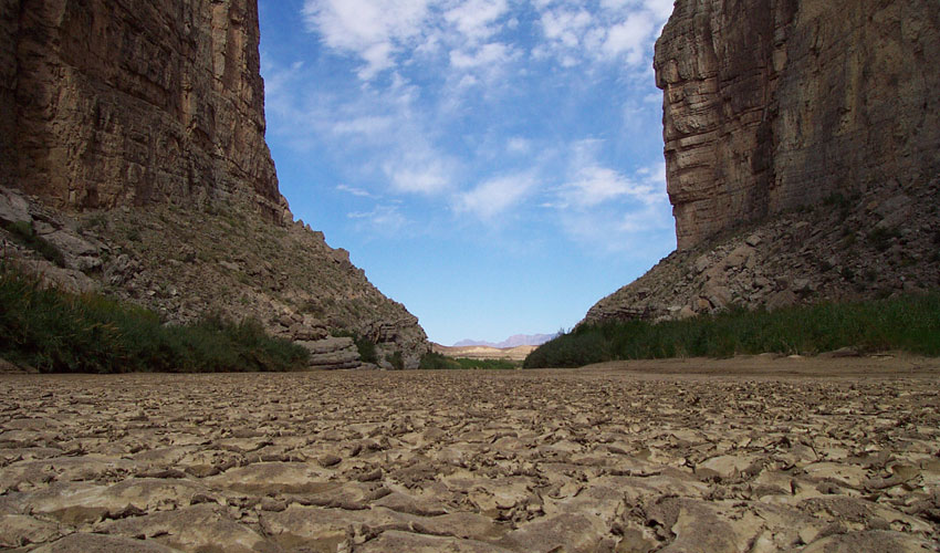 Photograph of a portion of the Rio Grande River that has run dry