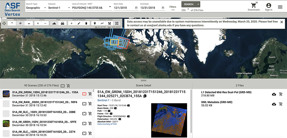 Alaska Satellite Facility Distributed Active Archive Center Vertex synthetic aperture radar search tool.