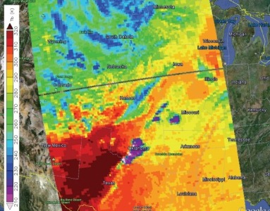 Oklahoma tornado, May 20, 2013 - AIRS infrared brightness temperatures show very cold cloud tops in the storm (violet), indicating extremely strong convection.