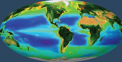 GLOBAL BIOSPHERE, our living planet as represented by the ocean's long-term average phytoplankton chlorophyll concentration acquired from September 1997 through December 2010 combined with the SeaWiFS-derived Normalized Difference Vegetation Index over land.