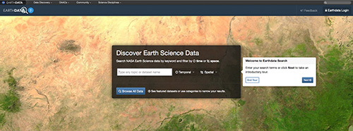 Screen shot of the Earthdata Search client