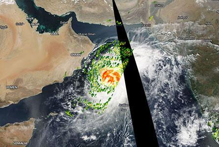 Cyclone Nilofar as shown in Worldview