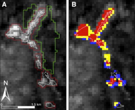 Satellite image showing nighttime temperature  at Heart Lake Geyser Basin, January 28, 2010