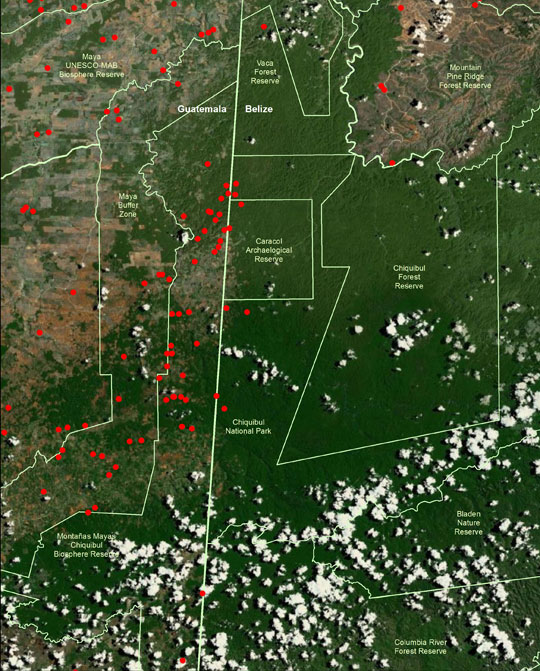 Data map showing fire hotspots in the Chiquibul National Park