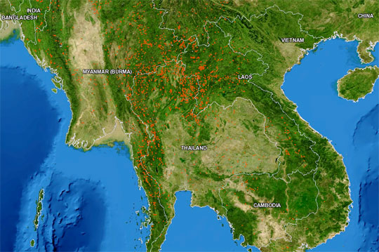 Data image showing fire hotspots in Southeast Asia